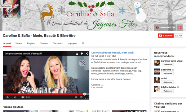 chaine youtube safia caroline