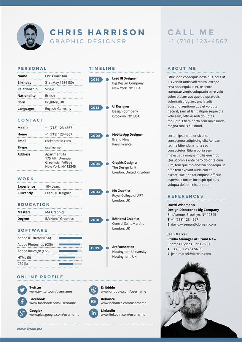 creative cv, cv, cv templates, free cv template, infographic cv, blue cv, resume, graphic designer