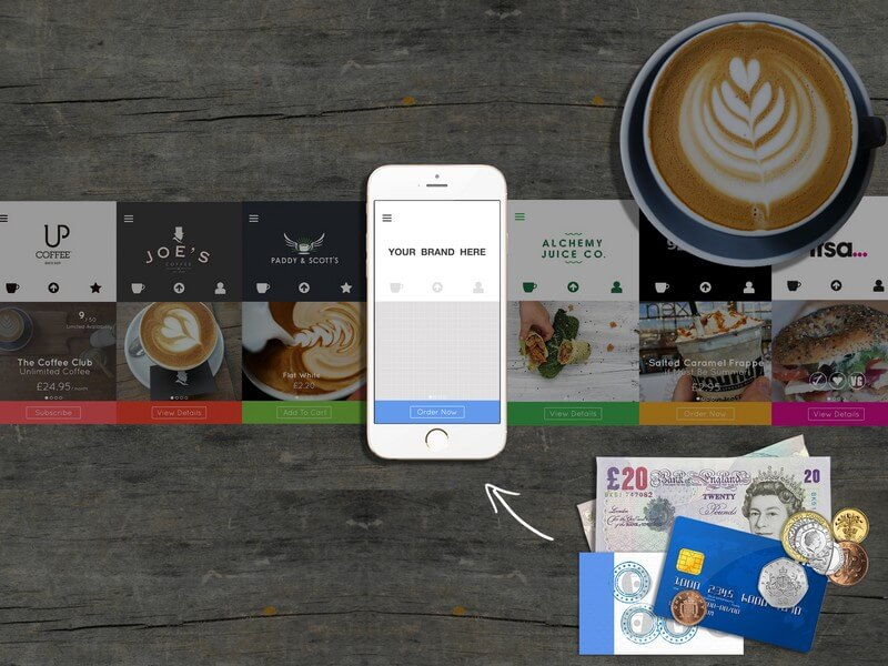 coffee, cappuccino, smartphone, app, customize, money, technology