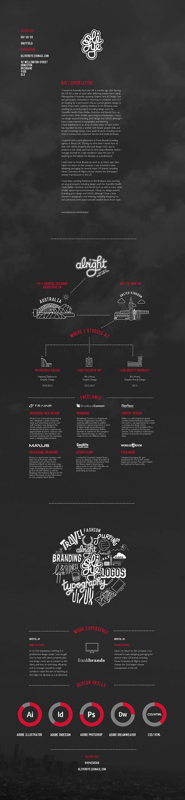 Oliver Roye, infographic CV, infographic, graphics, graphic designer, film set, film, cv, resume, curriculum vitae, original cv, 2015, UK, Australia