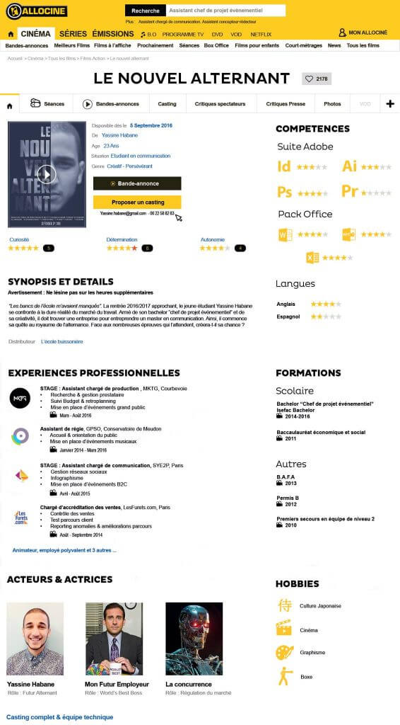 cv original cinema allocine