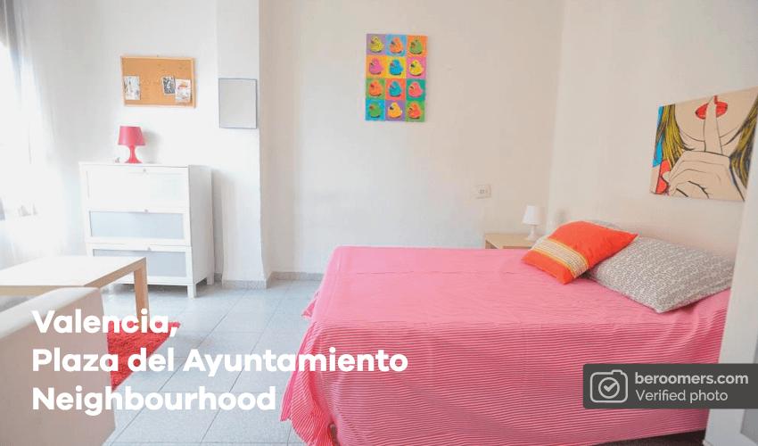 cama, cuarto, alojamiento, piso, apartamento, Valencia, rosa, decoración