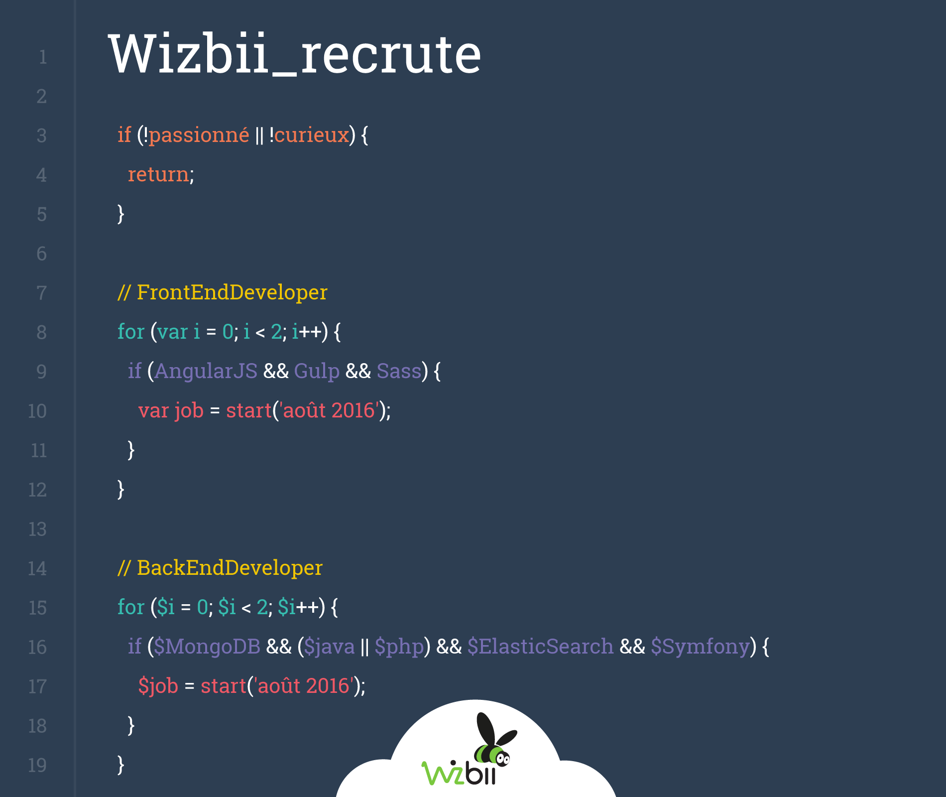 recrutement wizbii back end front end developer