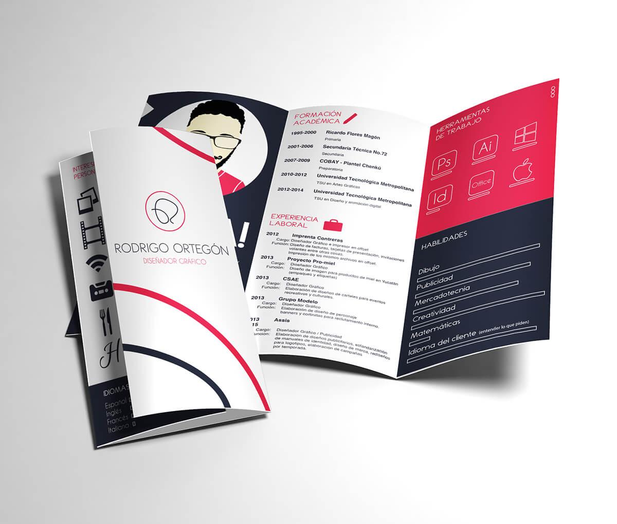 CV, currículo, curriculo, currículum, curriculum, Rodrigo Ortegón, diseñador, diseño, tríptico, original, creativo