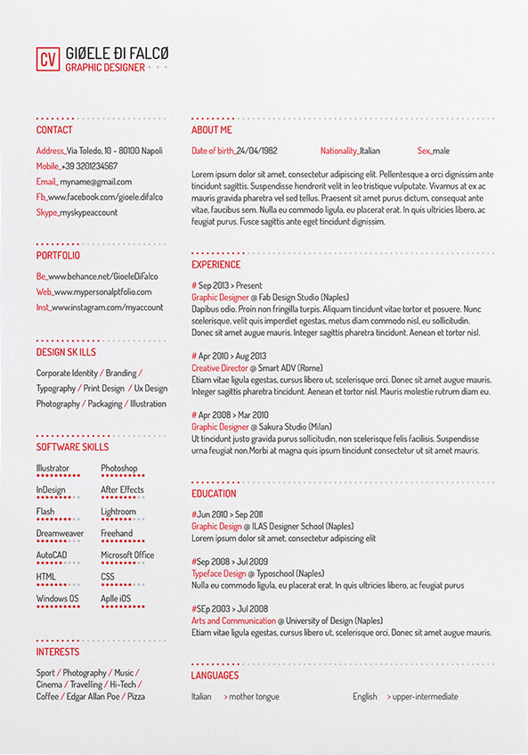 clean cv, creative cv, cv, cv templates, free cv template, resume, graphic designer