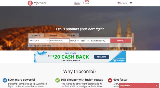 Startup, Tripcombi, Flüge, Flugsuche