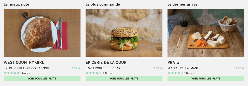 Catalogue produit sur le site web de Take Eat Easy